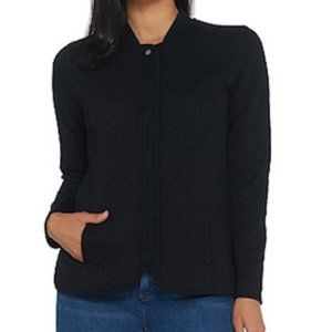 Isaac Mizrahi Quilted Snap Frnt Knit Bomber Jacket